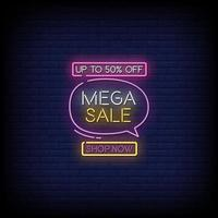 Mega Sale Leuchtreklamen Stil Text Vektor