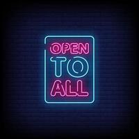öppen för alla neonskyltar stil text vektor