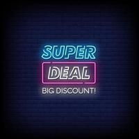 Super Deal Leuchtreklamen Stil Text Vektor