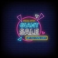 jätte försäljning neon skyltar stil text vektor