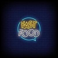Fast-Food-Leuchtreklamen Stil Textvektor vektor