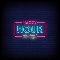 happy hour neonskyltar stil text vektor
