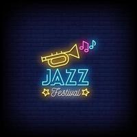 jazz festival neonskyltar stil text vektor