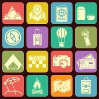 Moderne flache reisende und kampierende Ikonen vector Sammlung in den stilvollen Mehrfarbenknopfhintergründen. Urlaubsthema.