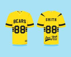 Amerikanische Fußballuniform, T-Shirt-Design mit Teamlogo, Label, Abzeichen. Kann in Infografiken, Präsentationen, als Symbol usw. verwendet werden. Farbe Flaches Design. Vektor