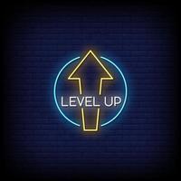 Level up Leuchtreklamen Stil Textvektor vektor