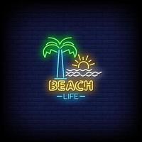 strandliv neonskyltar stil text vektor