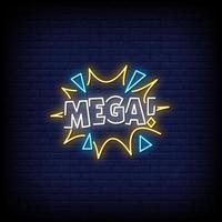 Mega-Leuchtreklamen-Stiltextvektor vektor