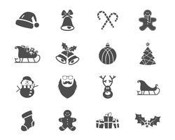 Weihnachts-, guten Rutsch ins Neue Jahr und Winterikonensammlung. Satz Feiertagssymbole, Elemente - Sankt, Rotwild, Geschenk, Schneemann, Süßigkeit, Spielwaren für Netz, APP, ptint. Vektor monochrome Silhouette