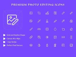 Fotobearbeitungs-Icon-Pack vektor