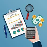 Buchhalter, der einen Taschenrechner hält, prüft die Illustration des Cashflow-Berichtskonzepts. vektor