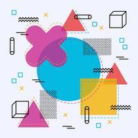 Memphis Hintergrund mit geometrischen Formen vektor