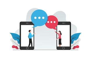 webbchatt online koncept. man och kvinna gör konversation från telefonvektorillustration. vektor