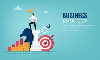 Geschäfts- und Planungsstrategiekonzept. erfolgreicher Geschäftsmann, der auf Schachfigurenvektorillustration steht. vektor