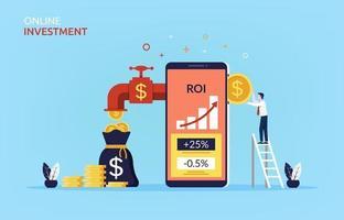 Online-Investitionskonzept mit Geschäftsmann, der Münze in Mobiltelefon einführt, um mehr Geldsymbol zu verdienen. vektor