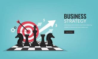 Geschäftsstrategiekonzept mit Schachfiguren-Symbol und Zielvektorillustration. vektor