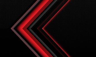 abstrakte rotgraue Lichtschattenpfeil geometrische Richtung auf schwarzem Sechseck-Maschen-Texturmuster metallisch mit moderner futuristischer Technologiehintergrundvektorillustration des Leerraumdesignstils. vektor