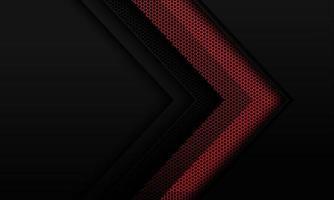 abstrakt röd metallisk hexagon mesh pil riktning på mörkgrå skugga tomt utrymme design modern futuristisk bakgrund vektorillustration. vektor