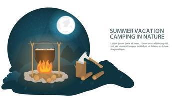 Banner für den Entwurf eines Sommerlagerfeuers mit einem Kessel in einer Lichtung im Wald, wo Essen oder Abendessen neben einer Axt zubereitet wird und flache Vektorillustration protokolliert vektor