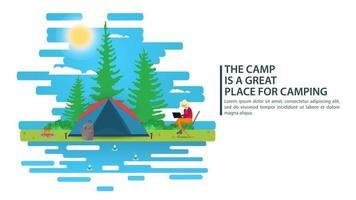 Landschaftsillustration des sonnigen Tages im flachen Artkarikaturmädchen, das an einem Laptop neben einem Zelthintergrund für Sommercamp-Naturtourismuscamping- oder Wanderkonzeptentwurf arbeitet vektor