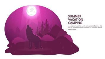 Banner für das Design des Sommercampingwolfs in der Nacht in einer Waldreinigung heult den Mond vor dem Hintergrund der flachen Illustration des Gebirgs- und Waldvektors an vektor