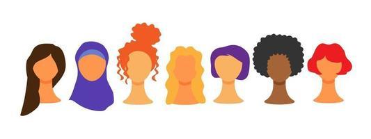 weibliche verschiedene Gesichter. multiethnische Schönheit. Frauen verschiedener Nationalitäten und Kulturen. der Kampf für Rechte, Unabhängigkeit, Gleichheit. Internationaler Frauentag. vektor