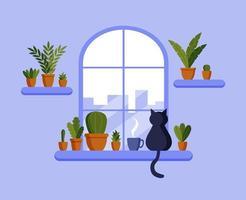 Vektor flaches Fenster, Katze sitzt auf der Fensterbank, Blumentöpfe, Kaffeetasse. Wohnkomfort. Vektorillustration im flachen Stil.