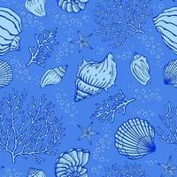 nahtloses Muster mit Muscheln, Korallen und Seesternen. Meereshintergrund. Perfekt für Grüße, Einladungen, Herstellung von Geschenkpapier, Textil- und Webdesign. vektor