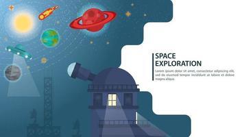 Banner Observatory Radio Teleskop beobachtet Studien das Universum des Weltraums für Web- und mobile Websites Design flache Vektor-Illustration vektor