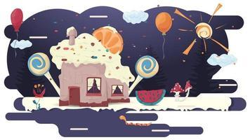 Haus Cupcake Backen mit einer Scheibe Zitrusfrucht auf Glasur eine Lichtung unter den Bäumen und Süßigkeiten flache Vektor-Illustration für Design vektor