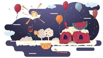 Haus Cupcake Backen mit einer Scheibe Wassermelone auf Glasur eine Lichtung unter den Bäumen und Blumen flache Vektor-Illustration für Design vektor