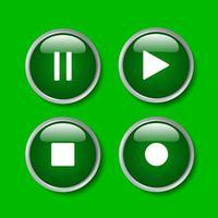 Grafikdesign des einfachen Zeichens lokalisiert auf blauem Hintergrund. Wiedergabesymbol, Vektor-Multimedia für Video und Audio, Stopp und Pause. vektor