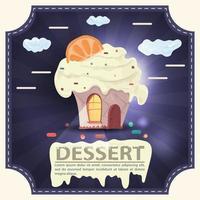 Häuser backen Cupcake mit Zitrusfrüchten auf dem Dach und Sahne mit der Aufschrift Dessert quadratischen Aufkleber flachen Design vektor