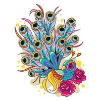Illustration des Pfau-neuen Skool-Tätowierungs-Kunst-Designs vektor