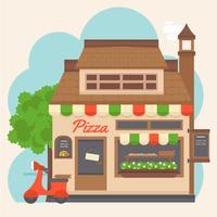 Vektor-buntes Pizza-Platz-Gebäude vektor