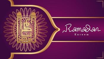 schöne lila und goldene arabische Kalligraphie Ramadan Kareem Text und dekorative Muster Design Hintergrund. Vektorillustration vektor