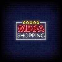 Mega Shopping Leuchtreklamen Stil Text Vektor