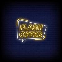 Flash-Angebot Leuchtreklamen Stil Textvektor vektor