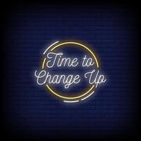 Zeit, um Neonzeichen Stil Textvektor zu ändern vektor