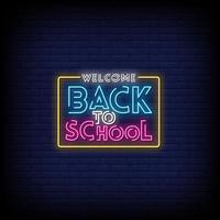 Välkommen tillbaka till skolan neonskyltar stil text vektor