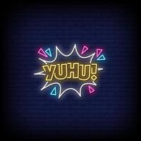 Yuhu Neon Zeichen Stil Text Vektor