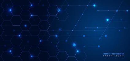 abstrakt mörkblå geometrisk hexagon bakgrund med linjer och prickbelysning. vektor