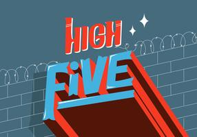 High Five Cool Retro Typografi Vector