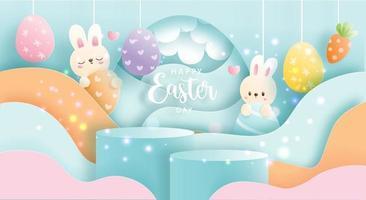 Glücklicher Ostertag mit niedlichem Kaninchen und rundem Podium für Produktausstellung. vektor