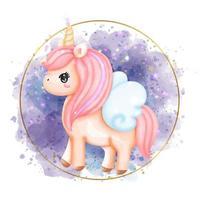 digital färg unicorn akvarell. vektor illustration