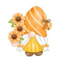 digitale Farbe Aquarell Sonnenblumen Zwerge lokalisiert auf weißem Hintergrund. niedliche Gnomfrühlingssaison-Grußkarte. vektor