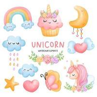 digital färg unicorn element akvarell. vektor