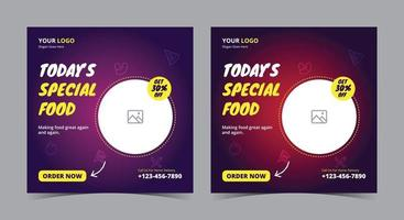Heute spezielles Food-Poster, Food-Social-Media-Post und Flyer vektor