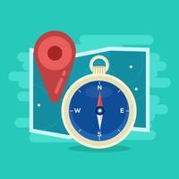 Karte und Kompass Vektor