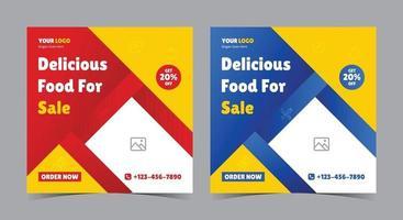 leckeres Essen zum Verkauf Poster, Essen Social Media Post und Flyer vektor